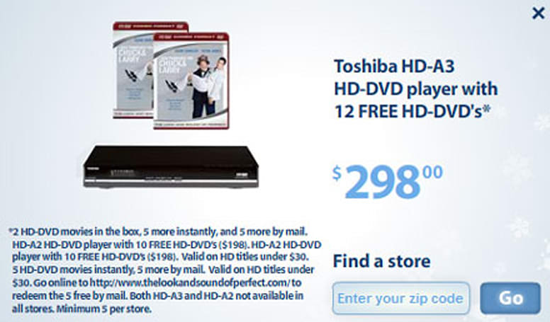 """Toshiba HD-A3 with 12 free movies available at Wal-Mart """"secret"""" sale"""