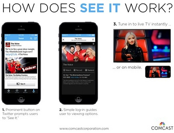 Comcast and Twitter team up to offer streaming TV via new 'See It' feature