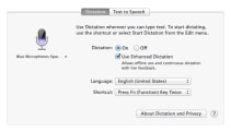 How to set up continuous OS X Mavericks dictation