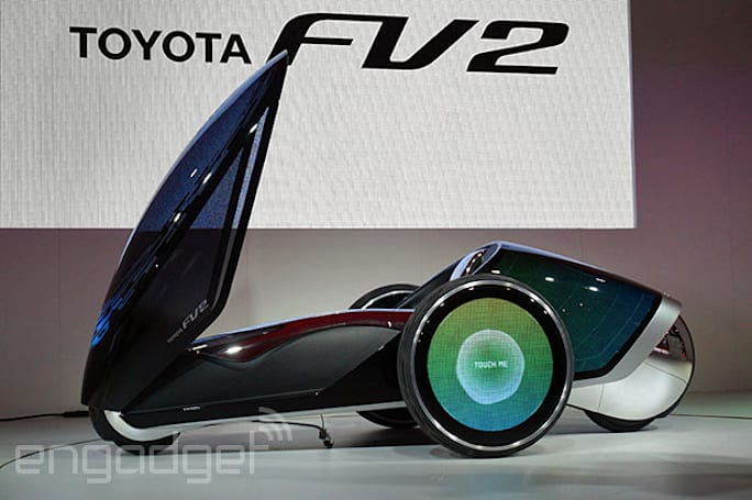 Toyota's FV2 concept vehicle has a customizable LCD surface and you can drive it while standing