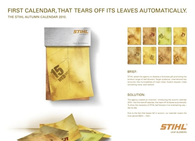 Stihl's autumn calendar automatically rips through to tomorrow