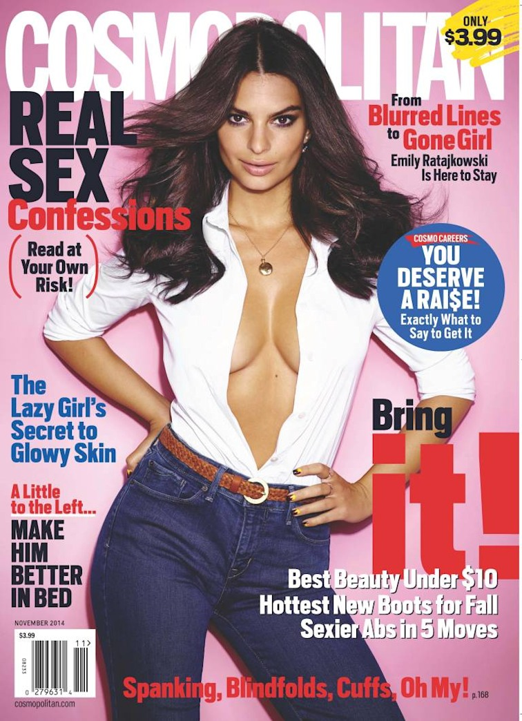 Emily Ratajkowski: 'Gone Girl' star sports a plunging neckline for 'Cosmo' cover