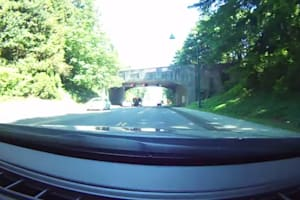 Driving Over Lions Gate Bridge in Vancouver, B.C., Canada
