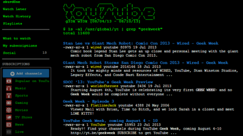 YouTube celebrates Geek Week with Unix overhaul, eyes flinch universally