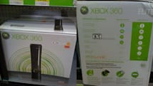 Xbox 360 Elite in white package in the wild, Pro SKU missing on back-of-box chart