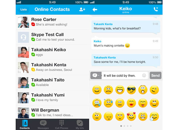 Skype for iOS update adds Microsoft account support, animated emoticons