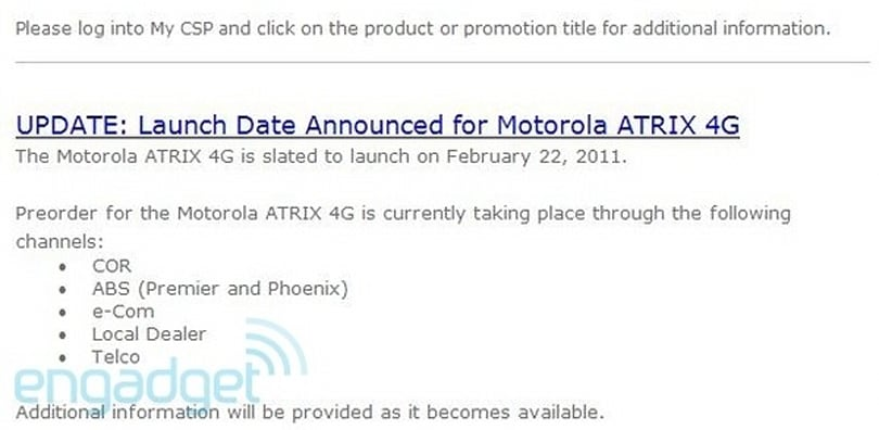 Motorola pushes up Atrix 4G launch to Feb. 22, shoves Xoom pre-sales back to Feb. 20th?