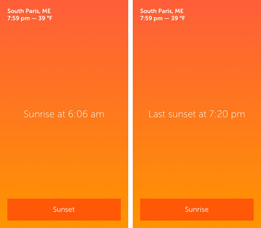 Daily App: Skylit shows sunset and sunrise times so you are never left in the dark