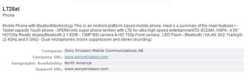Sony Ericsson LT28at with 4.55-inch HD display, 13MP camera and LTE gets Bluetooth certification