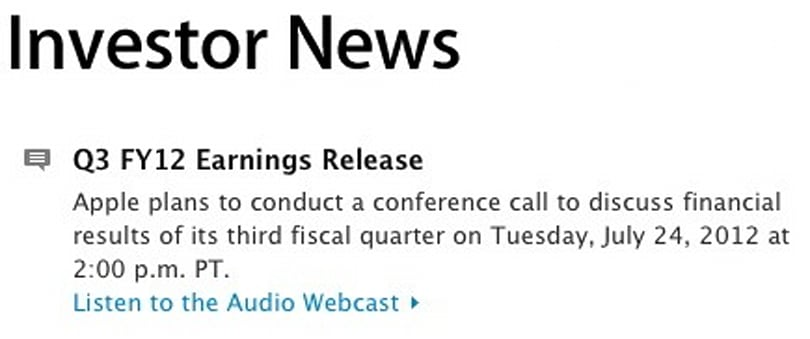 Apple Q3 earnings call on July 24 -- will Mountain Lion follow on July 25?