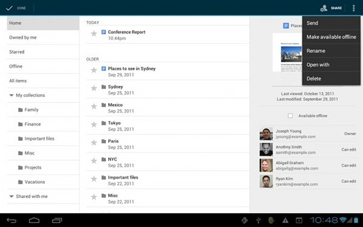 Google Docs for Android updates: adds offline support, better tablet experience
