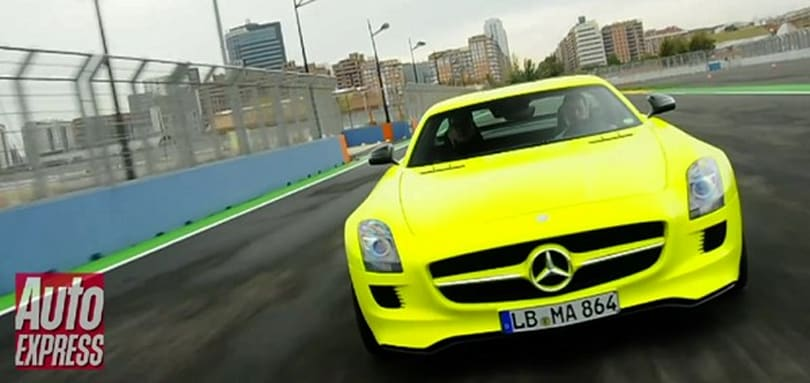 Mercedes electric SLS AMG E-Cell previewed: neck-snapping and retina-searing (video)