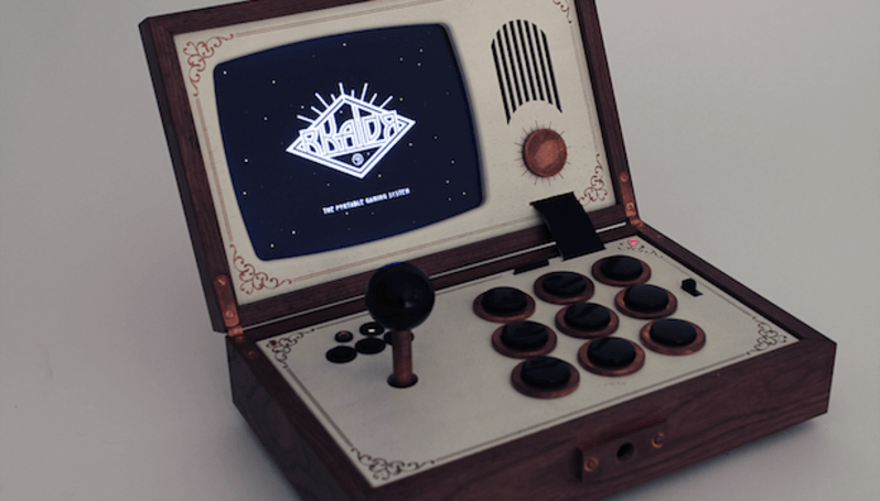 R-Kaid-R packs portable arcade cabinet in a sleek wooden box