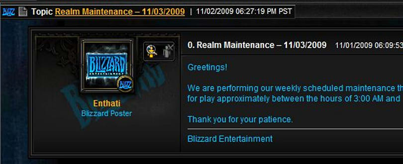 Maintenance for Tuesday November 3rd