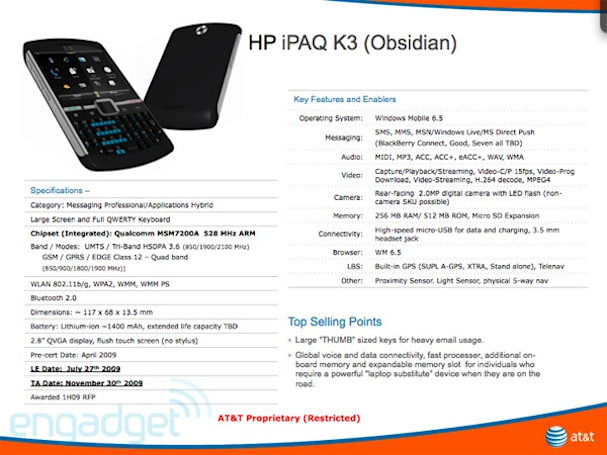 "HP triumphantly returns to AT&T with iPAQ K3 ""Obsidian"""