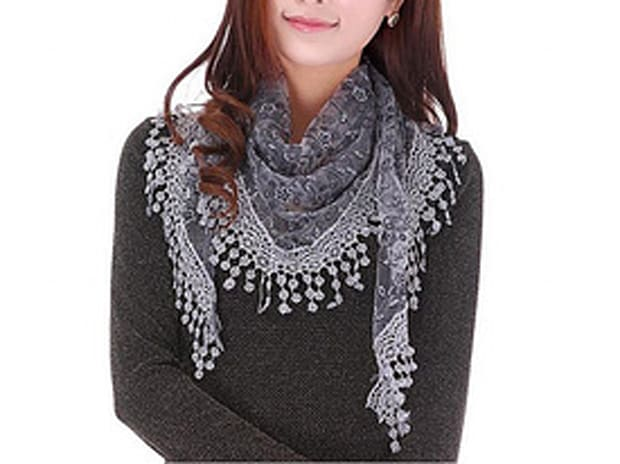 Sheer Lace Crochet Trim Scarf