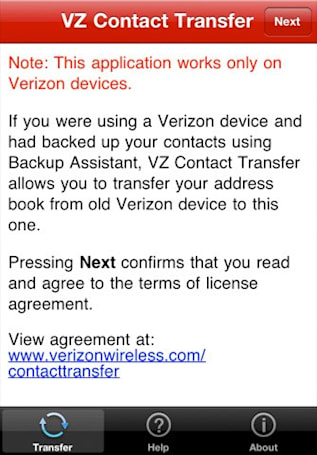 VZ Contact Transfer will move contacts from Verizon's cloud to your iPhone