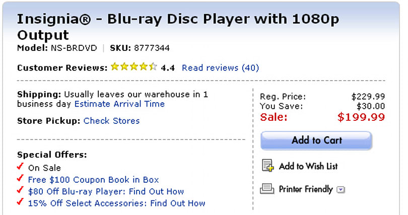 Insignia NS-BRDVD Blu-ray player: now below $200 at Best Buy