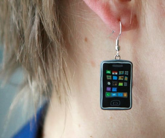 iPhone earrings will get great reception at your next party