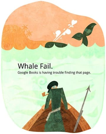 Google eBooks 404 page tips spear to Twitter, would make Ahab proud