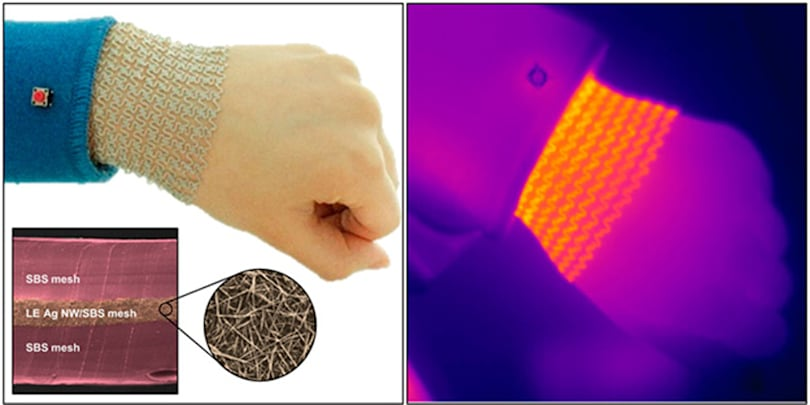 Stretchable nanowire mesh heats your sore muscles
