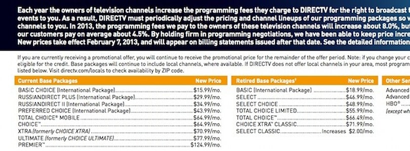 DirecTV 'price adjustment' will raise rates about 4.5 percent in February