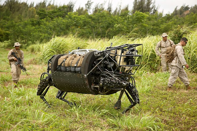 Marines send its 'AlphaDog' robot to the farm