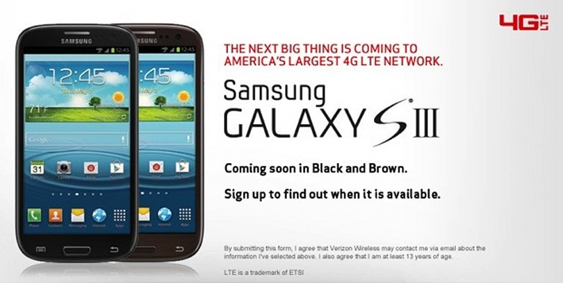 Verizon teases black and brown Galaxy S III models for the subtle crowd