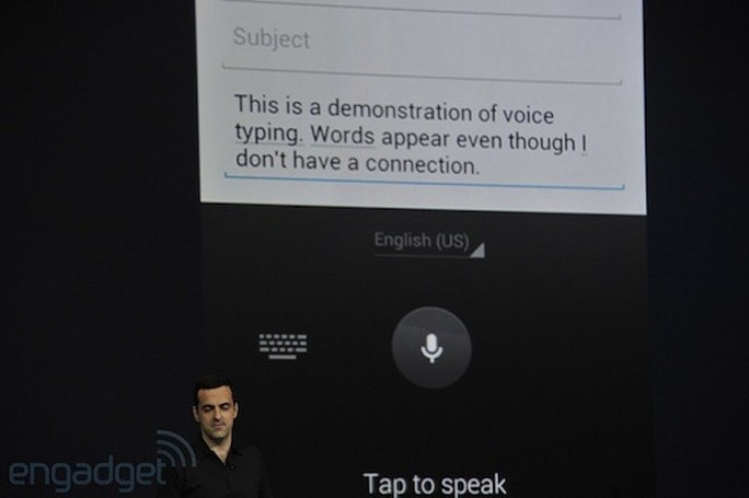 Android Jelly Bean input options include updated keyboard, offline voice dictation
