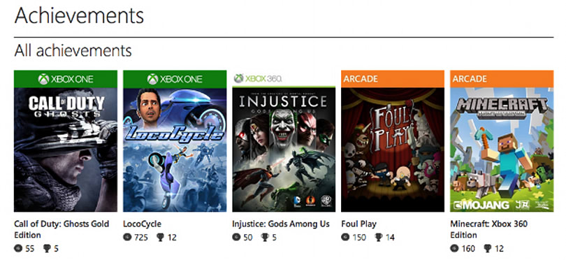 Check out your sweet Xbox One achievements online