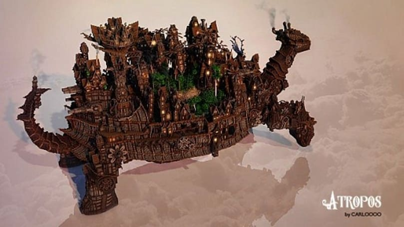 Minecraft user creates giant tortoise with steampunk city on its back