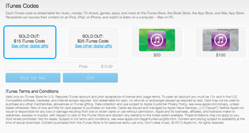 PayPal starts selling iTunes digital gift cards, sells out of $15, $25 options immediately