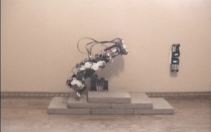 Lego bipedal bot takes several small stairs for man, one big fall for robotkind (video)