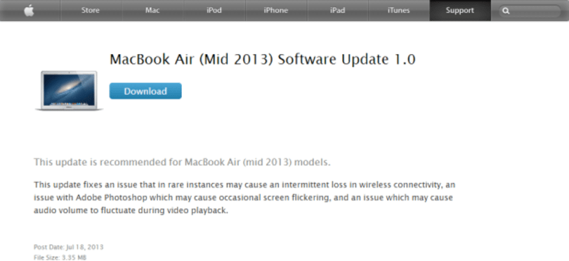 2013 Macbook Air update fixes flickering screen and WiFi, available now
