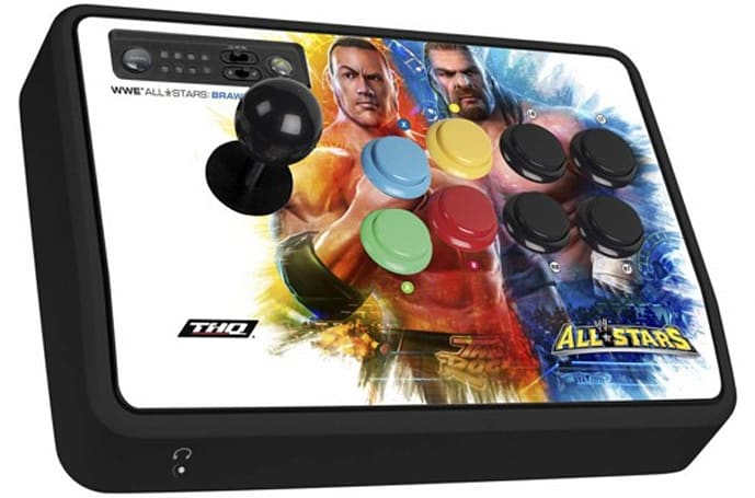 Cheap arcade sticks, with just a little wrestling artwork