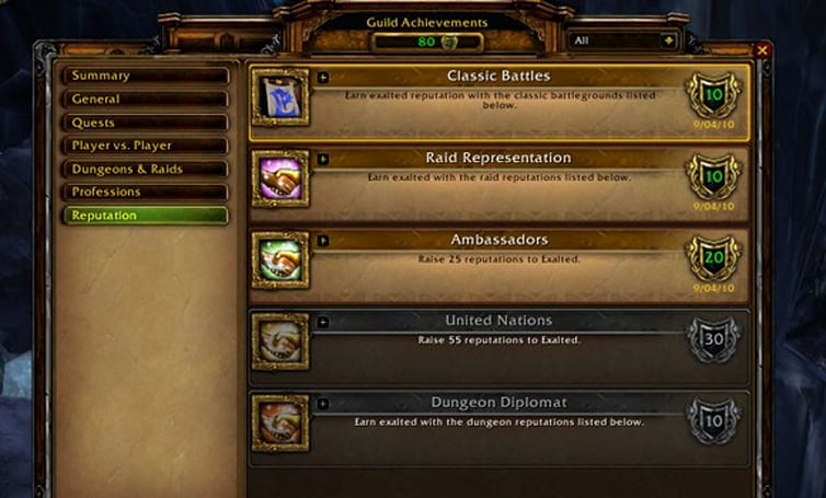 Cataclysm Beta: New guild achievements added in patch 12984