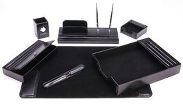 Majectic Goods 7-piece Leather Desk Set