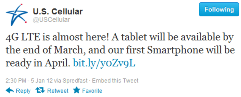 US Cellular reassures us of LTE plans: first tablet by March, smartphone by April