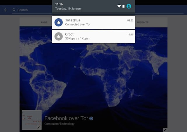 Facebook on Android gives you privacy through Tor