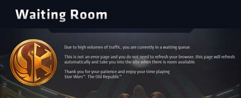 Even SWTOR's website has a queue! [Updated]