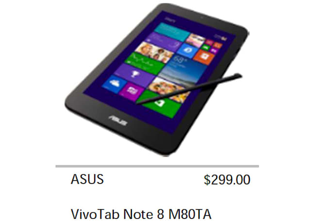 ASUS VivoTab Note 8 leak hints at a cheap, pen-toting Windows 8.1 tablet