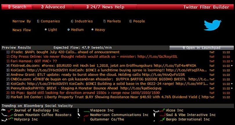 Bloomberg terminals now pull in real-time Twitter feeds