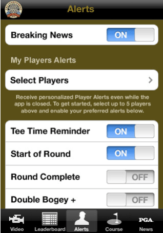 PGA Championship app pushes latest scores, includes buy-up live video
