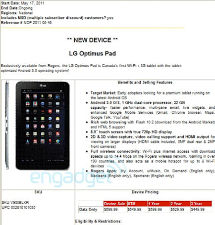 LG Optimus Pad coming to Rogers May 17th
