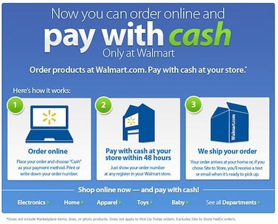 Walmart's website lets you Pay With Cash, strips away the 'convenience' of shopping online
