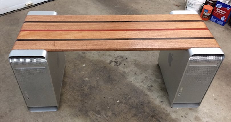 Two Mac Pro cases + woodworking skill = unique bench