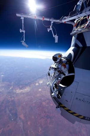 Man skydives from 13 miles above Earth, isn't satisfied (video)