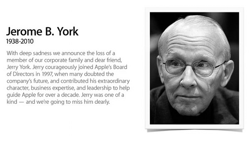 Apple board member Jerome York passes away