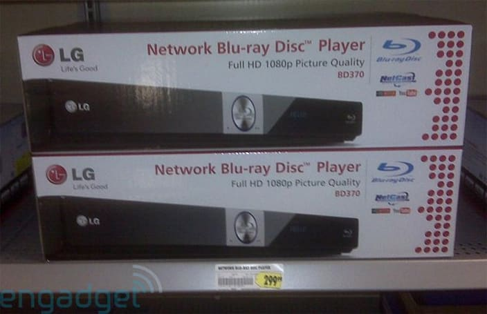 LG's BD370 Network Blu-ray Disc player in the wild, on sale