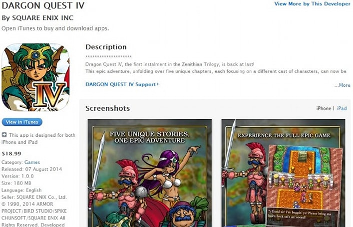 Square Enix launching Dargon Quest 4 on iOS today